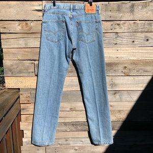 "VINTAGE Levi's Light Wash 505 Straight Leg Zipper Fly High Rise Jeans sz 32""X34"""